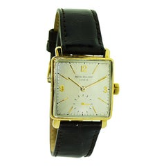 Patek Philippe 18 Karat Yellow Gold Handmade Art Deco Tank Watch, circa 1940s