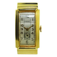 Longines 14 Karat Yellow Gold Art Deco Tank Style Watch with Original Dial