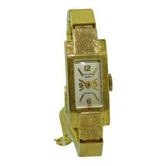 Wakmann, Breitling, 14Kt. Solid Gold Art Deco Ladies Bracelet Watch circa 1960s