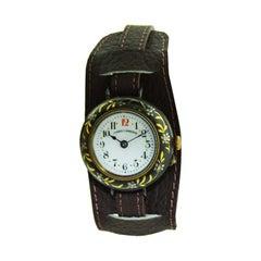Cuervo Y Sobrinos Early Gun Metal and Gold Pin Set Wristwatch, circa 1915