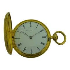 Vacheron 18 Karat Gold Keywind Hunters Case Pendant Watch with Original Key