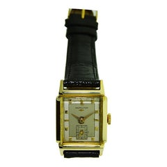 Hamilton 14Kt. Gold Filled Art Deco Watch ca 1950's with Solid Gold AppliNumbers