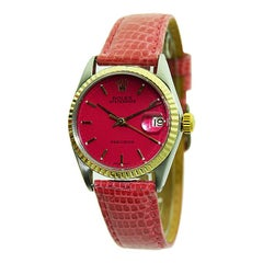 Rolex Steel and Gold Oyster Date Watch with Custom Hot Pink Dial from 1965