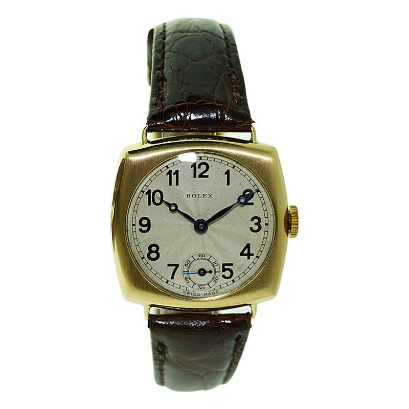 Rolex 9 Carat Gold Cushion Shaped Watch with Original Breguet Dial from 1922