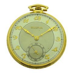 Bulova Yellow Gold Filled Art Deco Pocket Watch from 1939