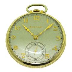 Bulova Open Faced Pocket Watch with Original Dial, circa 1940s