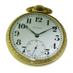 Buren Open Faced Art Deco Pocket Watch with Original Enamel Dial, circa 1930s
