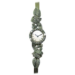 Omega Ladies 18 Karat White Gold Art Deco Diamond Dress Watch, circa 1940s-1950s
