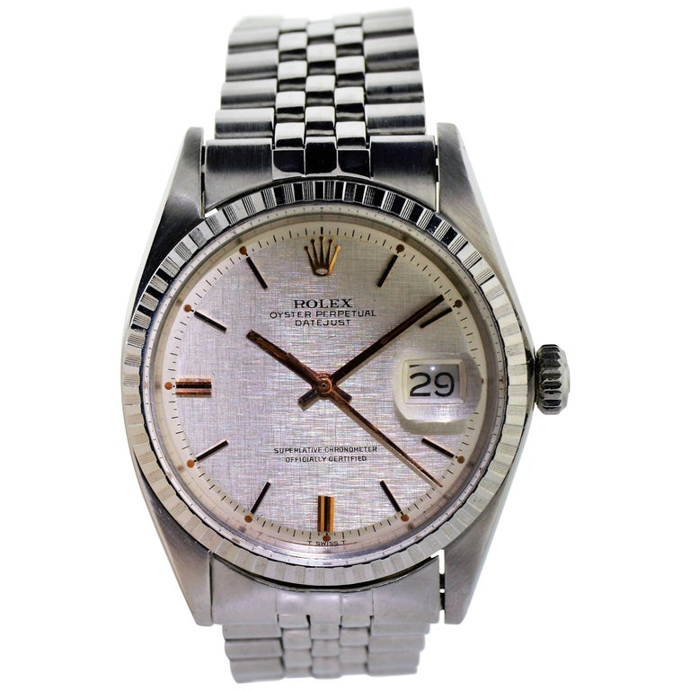 Rolex Steel Datejust with Original Linen Dial Perpetual Winding, Late 1960's For Sale