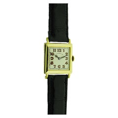 J.E. Caldwell by Ekegren 18 Karat Yellow Gold Art Deco Tank Watch from 1920s