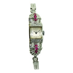 Nicolet Solid White Gold Art Deco Ladies Watch with Period Bracelet, circa 1940s