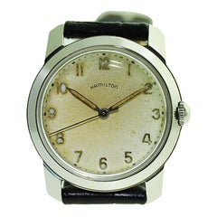 Hamilton Steel Art Deco Wristwatch, circa 1950s