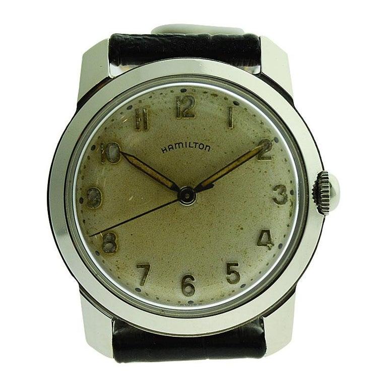 Hamilton Steel Art Deco Wristwatch Circa 1950s
