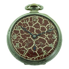 Illinois Gold Filled Art Deco Pocket Watch with Rare Hammered Case and Red Dial