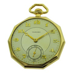 Tavannes Rose Gold Filled Art Deco Decagon Shaped Pocket Watch from 1930s