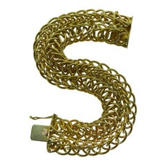 14 Karat Solid Yellow Gold Hand Constructed Bracelet, circa 1950s