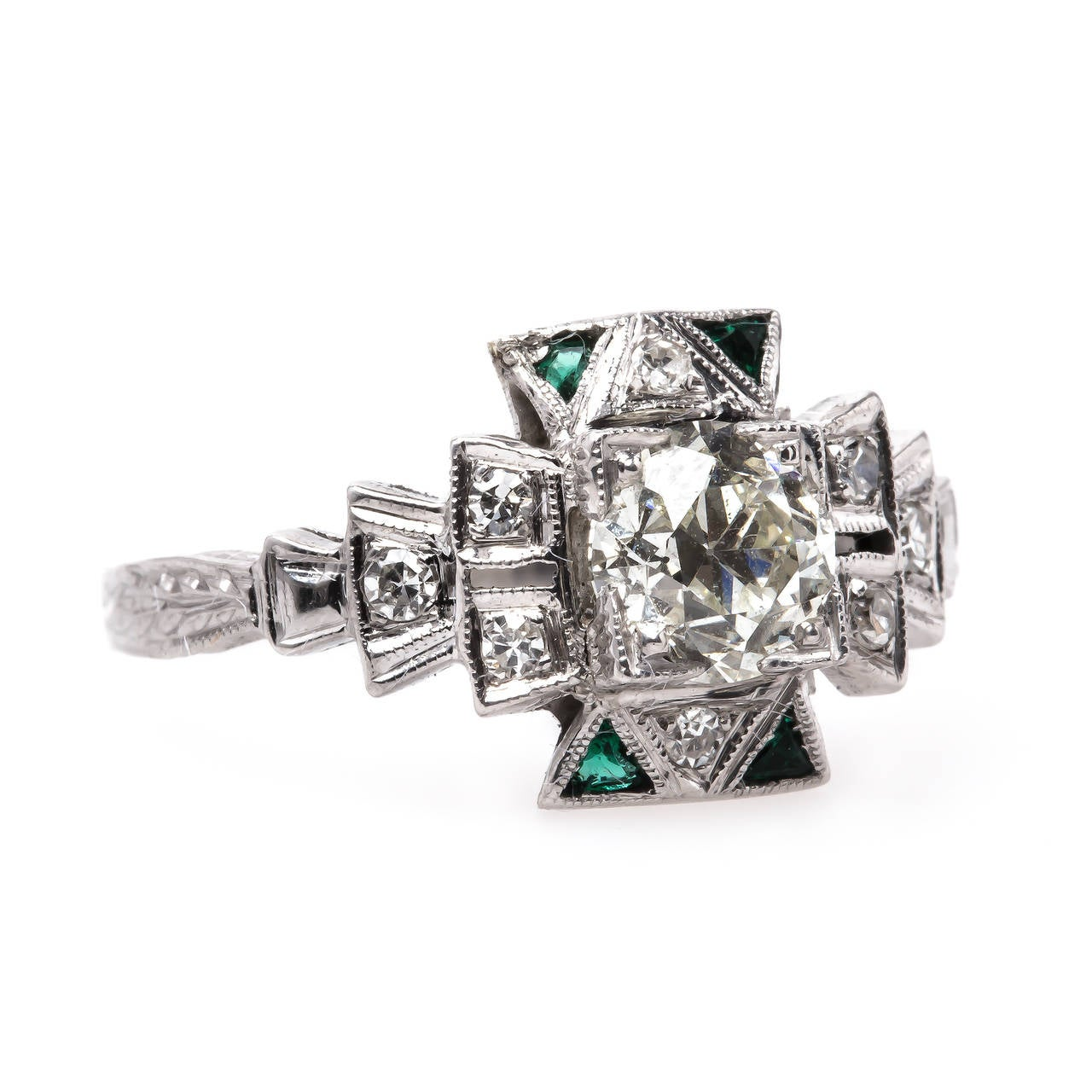 Late Art Deco 88 Carat Emerald Diamond Engagement Ring at 1stdibs