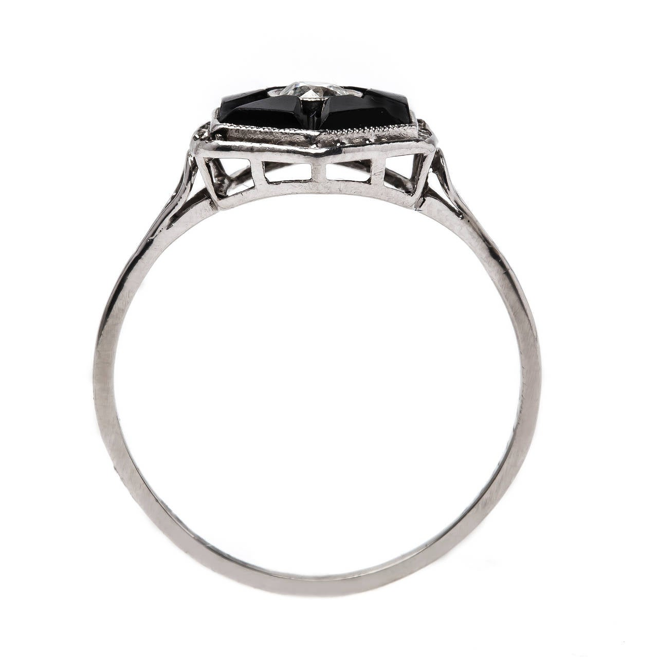 deco onyx engagement ring at 1stdibs