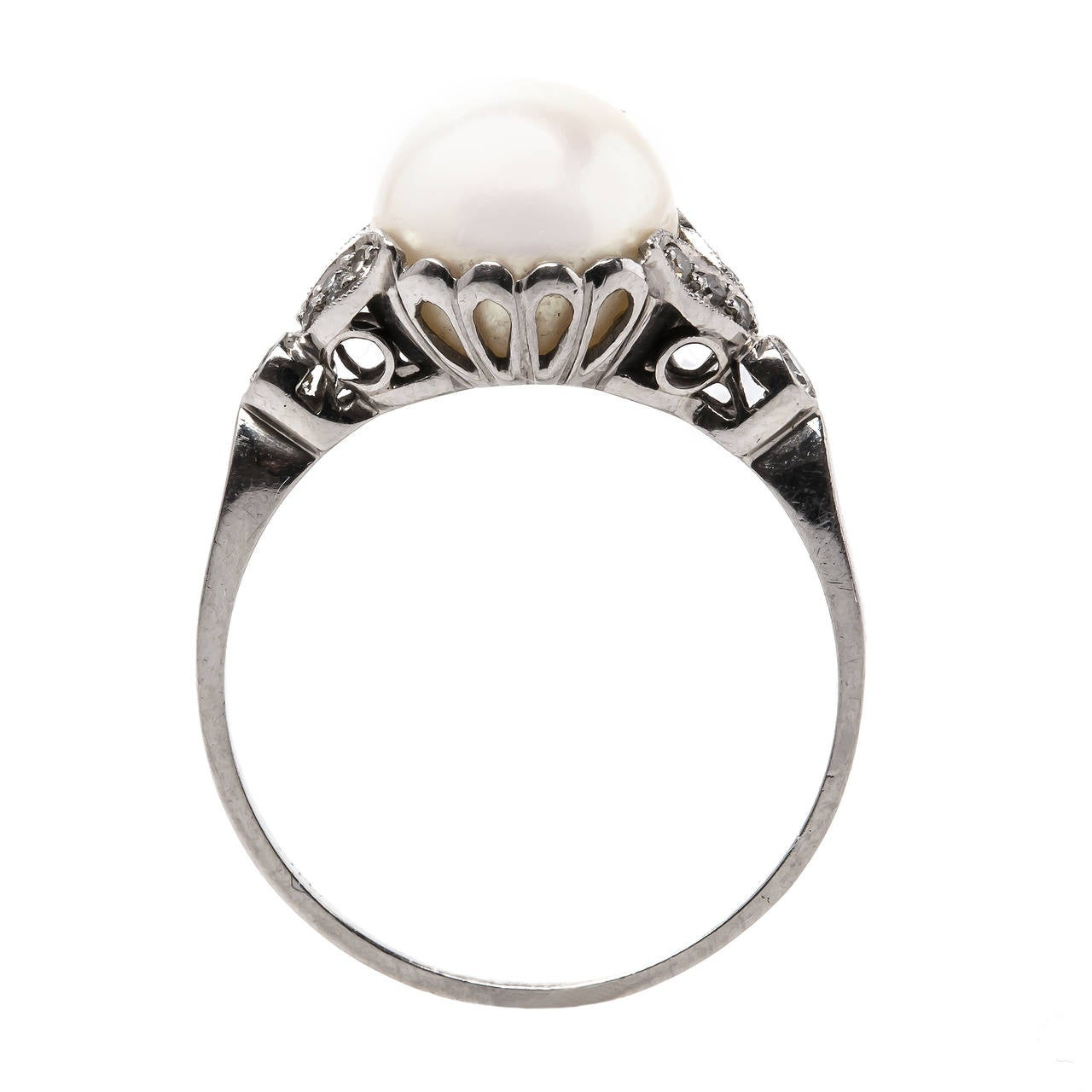 Pearl And Diamond Engagement Rings: Sweet Edwardian Pearl Diamond Platinum Engagement Ring At