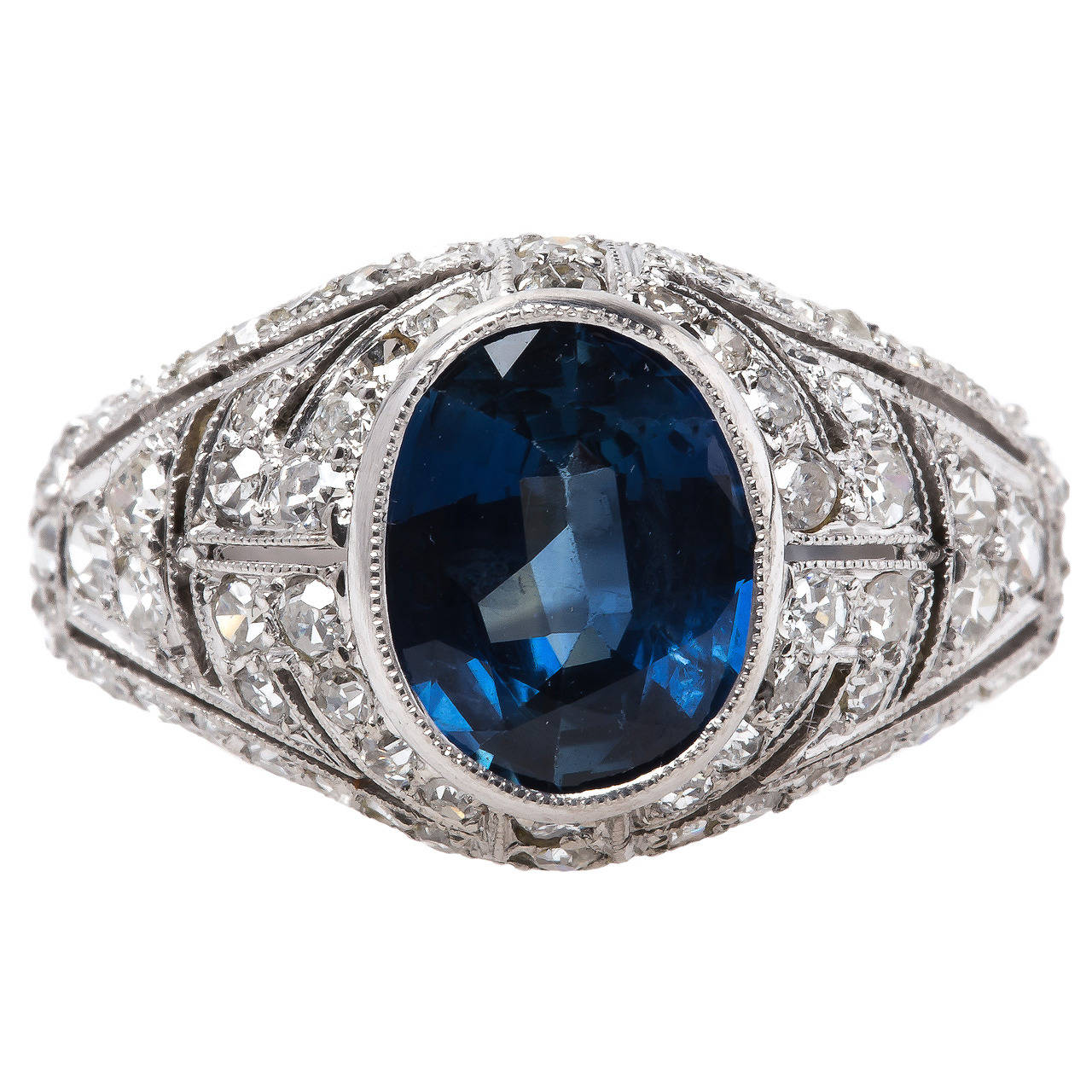 Edwardian Era Sapphire Diamond Platinum Bombe Engagement