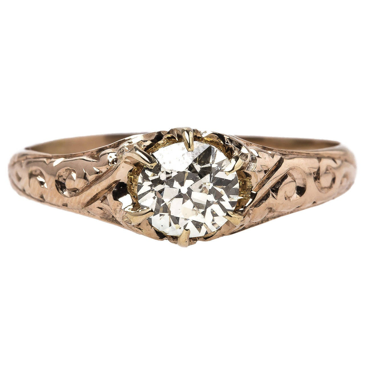 Intricate Victorian Diamond Gold Solitaire Engagement Ring at 1stdibs