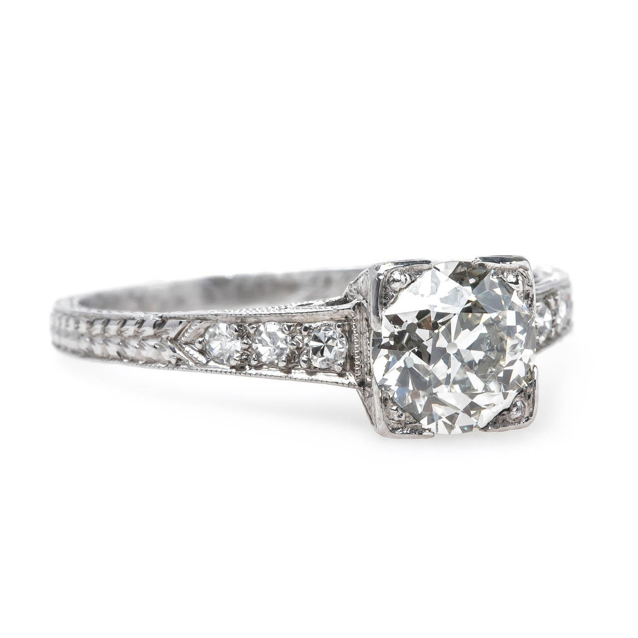 timeless engraved deco platinum engagement ring at 1stdibs
