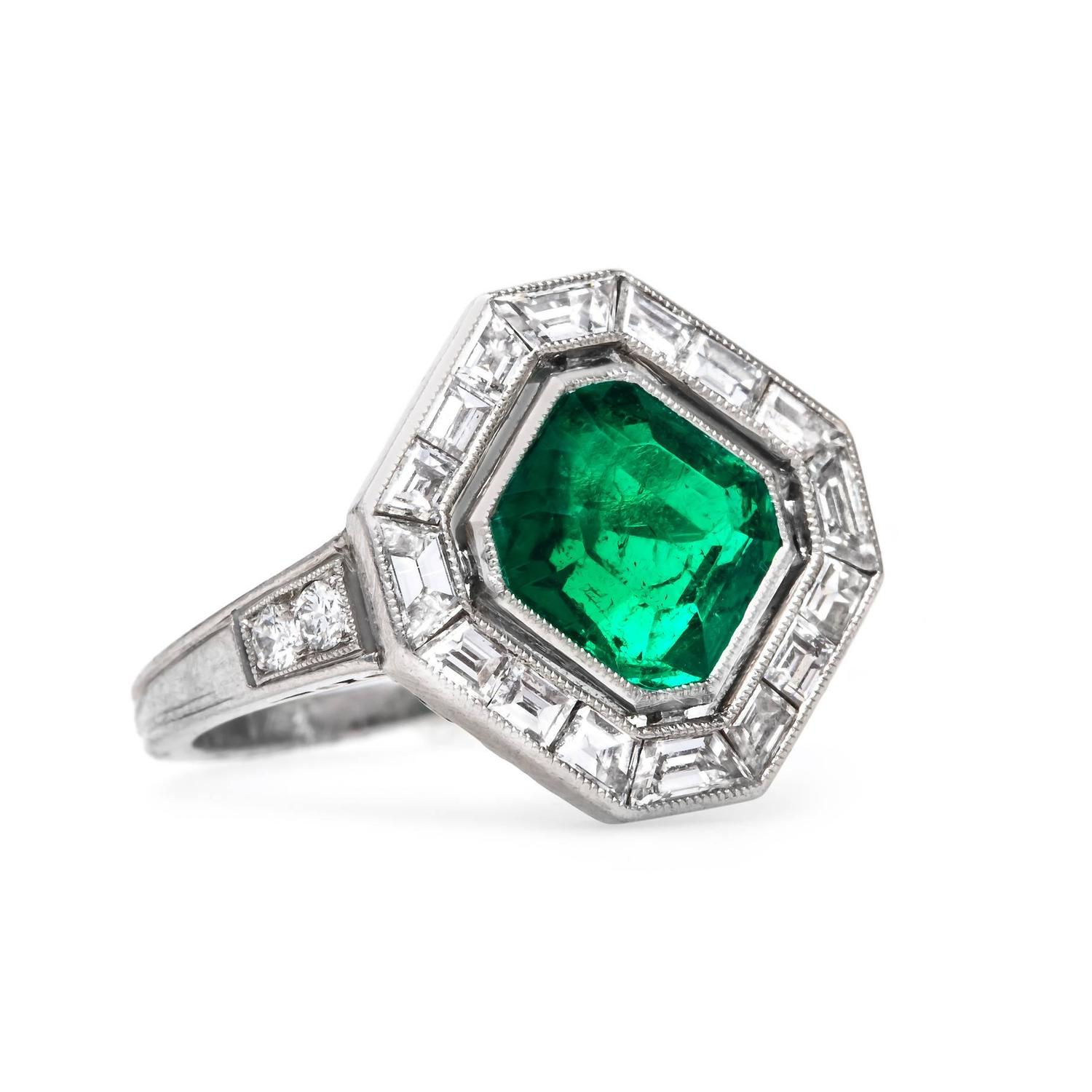 cartier deco emerald platinum deco engagement ring for sale at 1stdibs