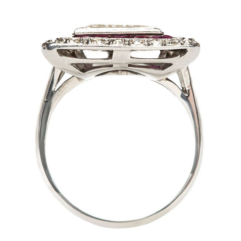 triangle cut and ruby platinum deco engagement