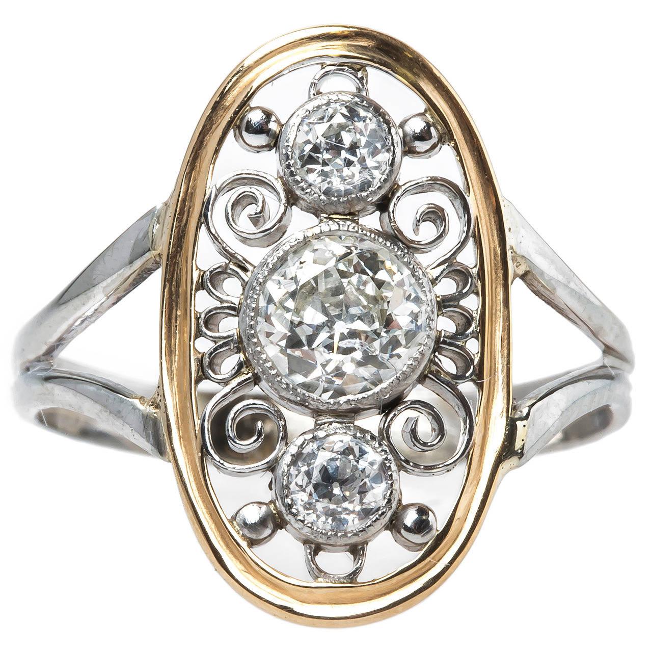 Intricate Edwardian Era Navette Style Diamond Engagement Ring at 1stdibs