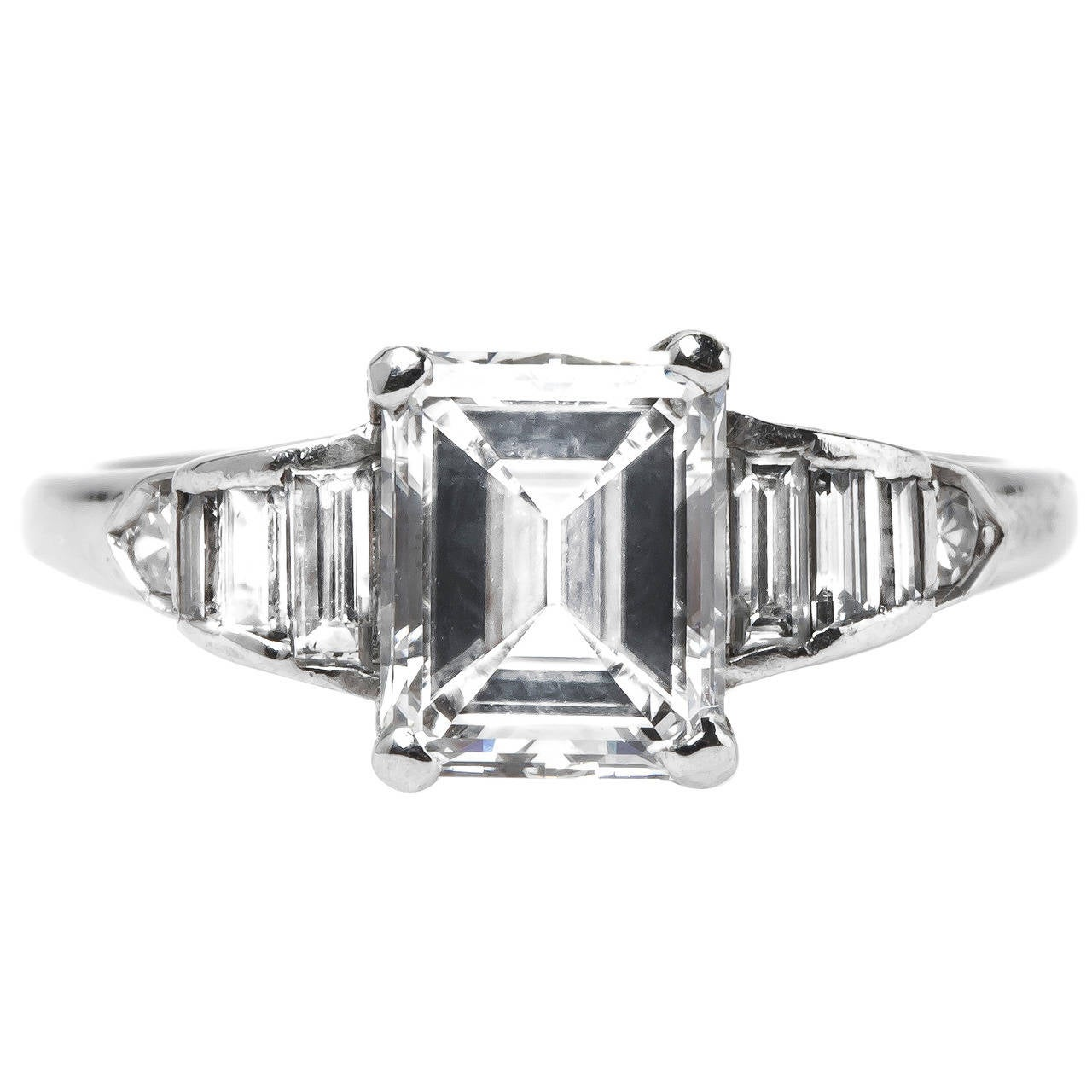 late deco emerald cut platinum engagement ring at 1stdibs