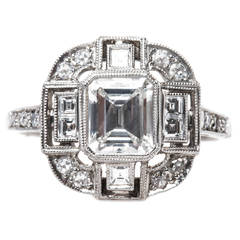 Emerald Cut Diamond Platinum Engagement Ring