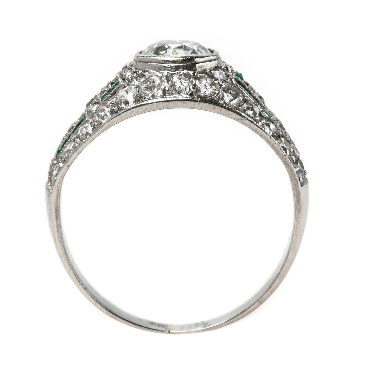 Fabulous Art Deco Bombé Style Emerald Diamond Platinum Engagement Ring at 1st