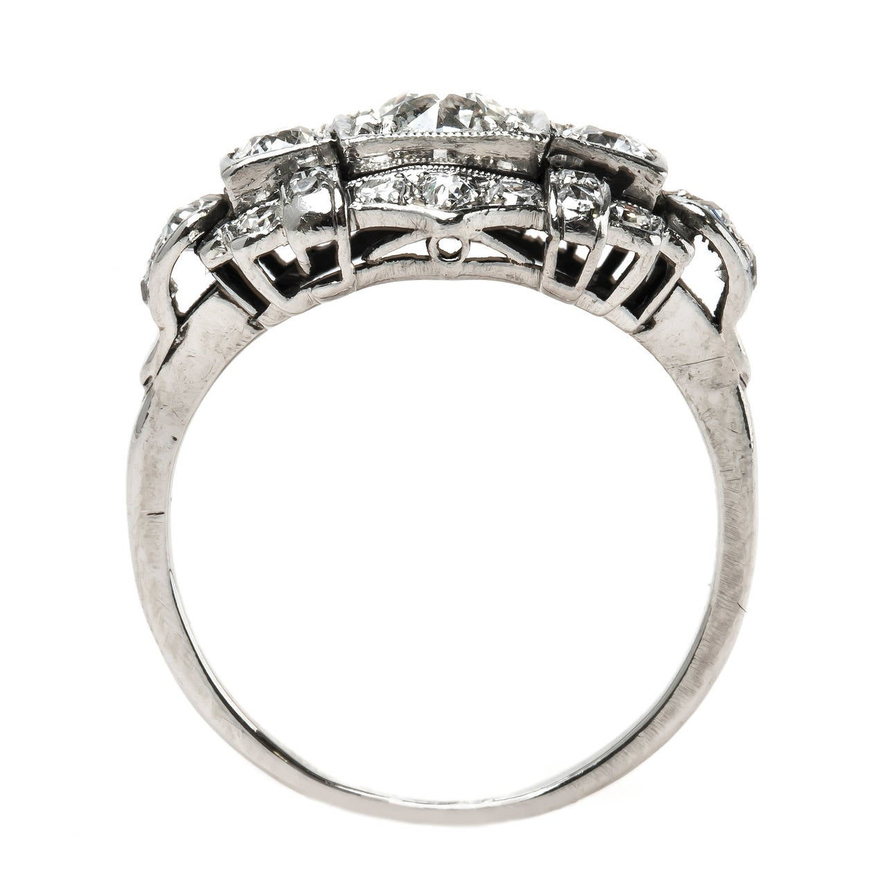 Art deco engagement ring with diamond geometric design at for Geometric wedding ring