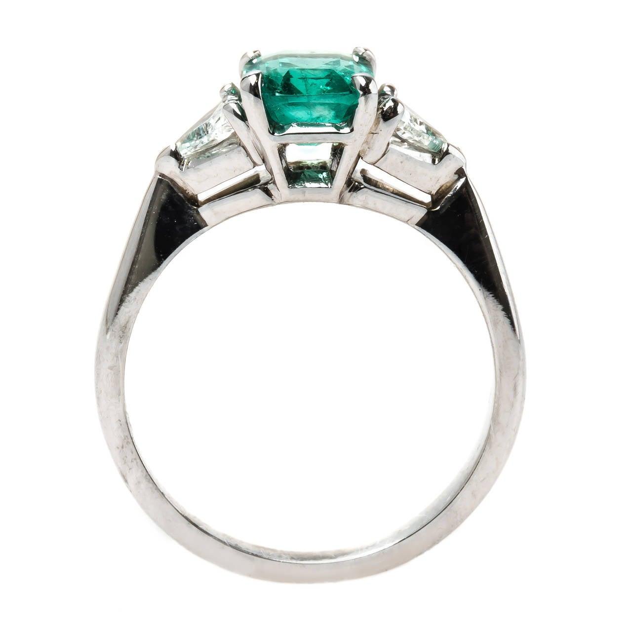 modern emerald gold engagement ring image 5