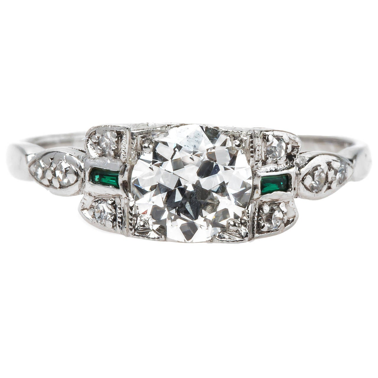 Art Deco GIA Cert Diamond Platinum Ring with Synthetic Emerald Accents at 1st