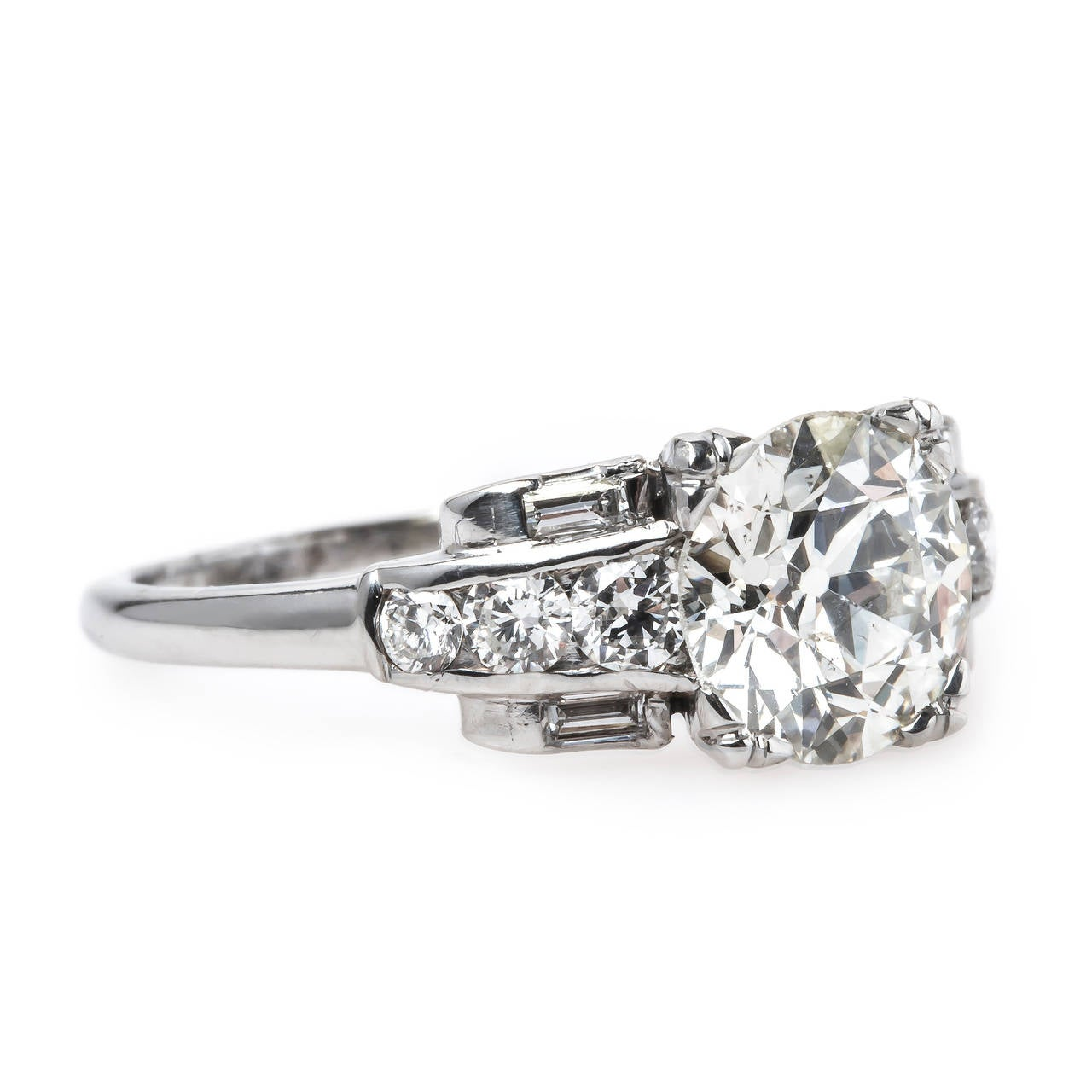 1950s Incredible 1 55 Carat Diamond Platinum Engagement Ring at 1stdibs