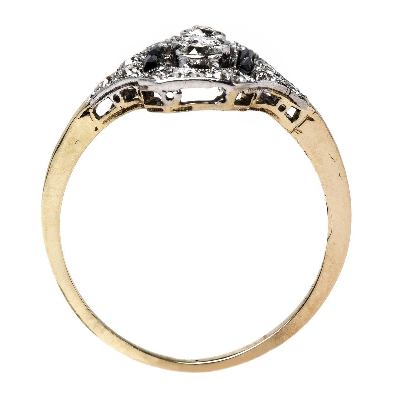 gorgeous edwardian onyx gold platinum engagement