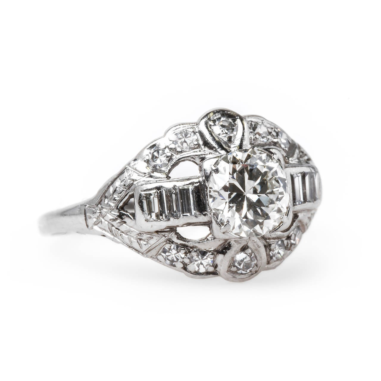 deco platinum engagement ring with beautiful