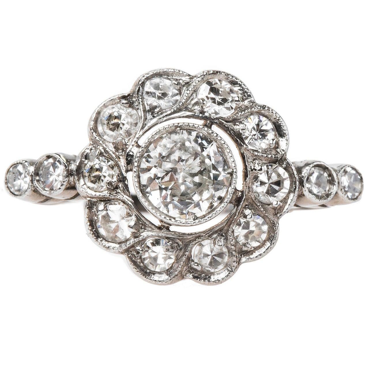 edwardian platinum halo scalloped edge cluster