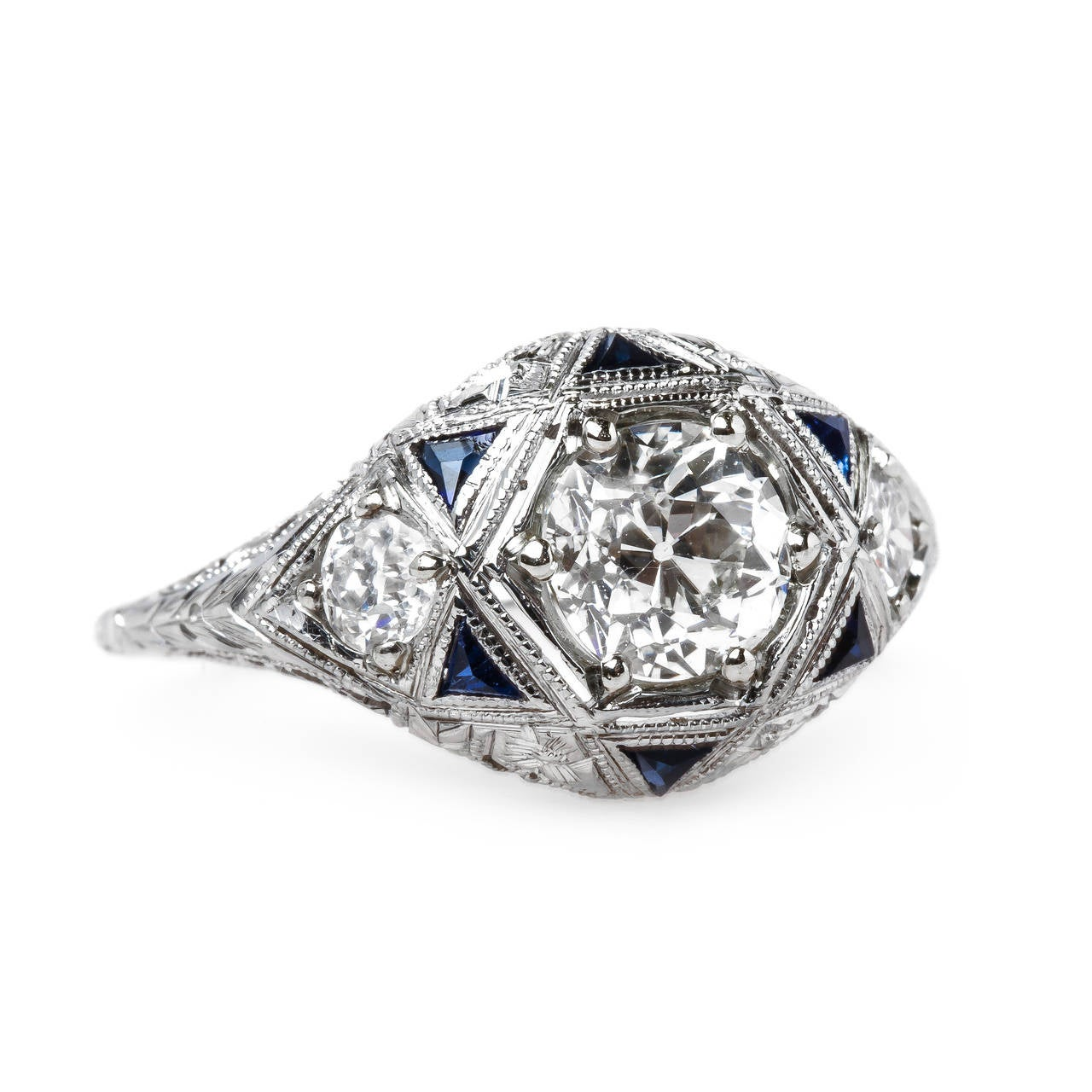 Intricate Art Deco 1 01 Carat Diamond Sapphire Gold Ring at 1stdibs