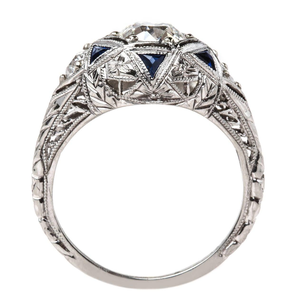 intricate deco 1 01 carat sapphire gold ring