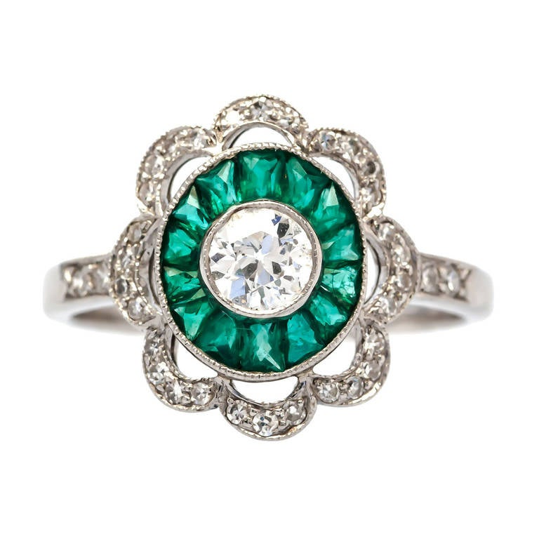 emerald and scalloped deco engagement ring at 1stdibs