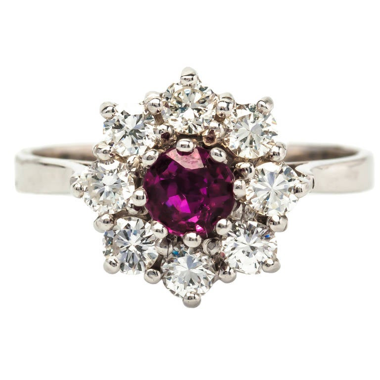1950s Ruby and Diamond Gold Engagement Ring at 1stdibs