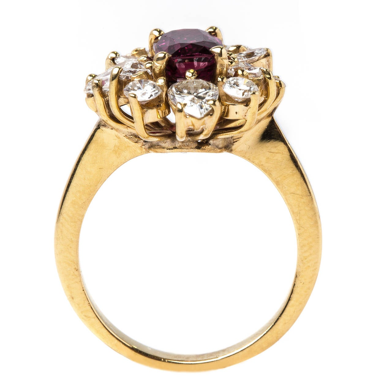 1960s Deep Red Sapphire Diamond Halo Gold Ballerina Ring at 1stdibs