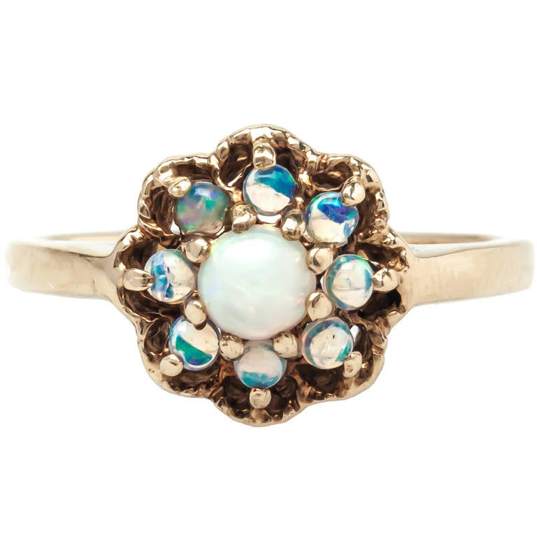 Darling 1960s Opal Engagement Ring at 1stdibs