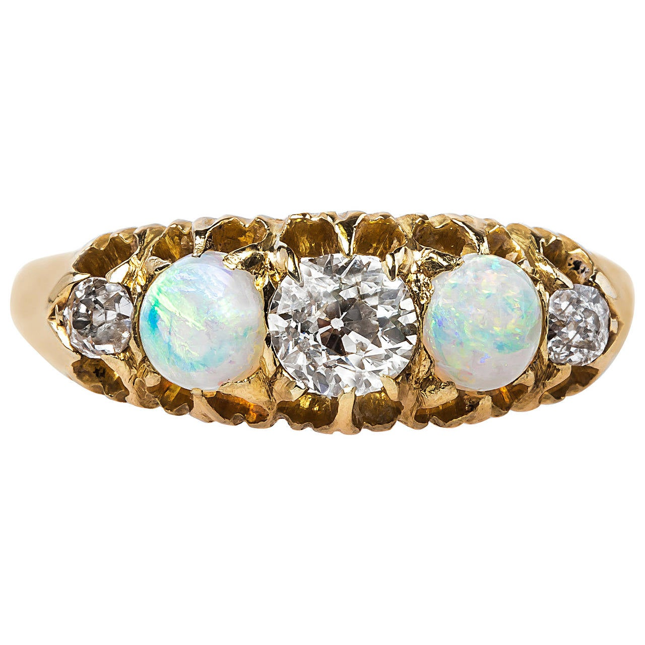 Victorian Opal Diamond Gold Engagement Ring At 1stdibs
