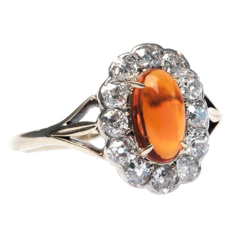 Fire Opal Diamond Engagement Ring
