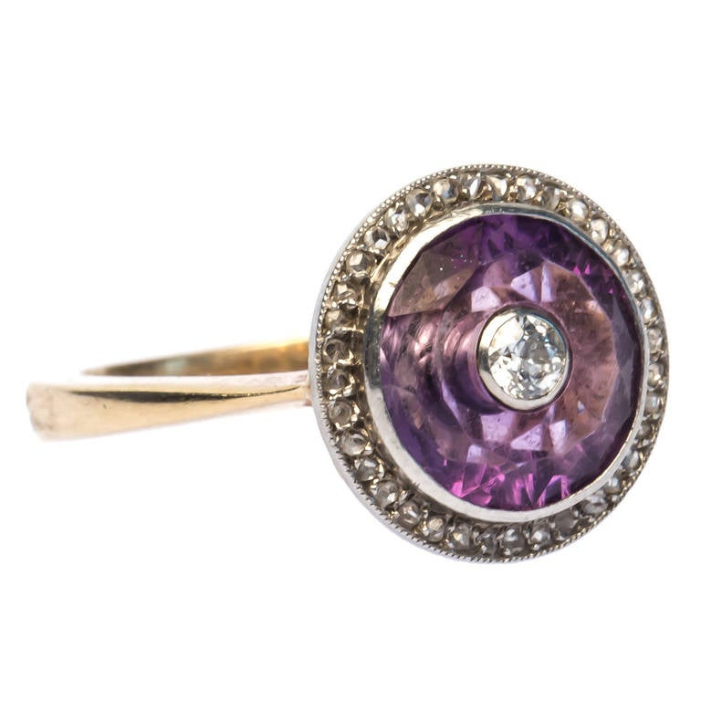 Carved Amethyst And Diamond Repurposed Edwardian Ring At
