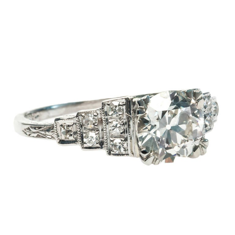 Art Deco 1 25 Carat Diamond Platinum Engagement Ring at 1stdibs