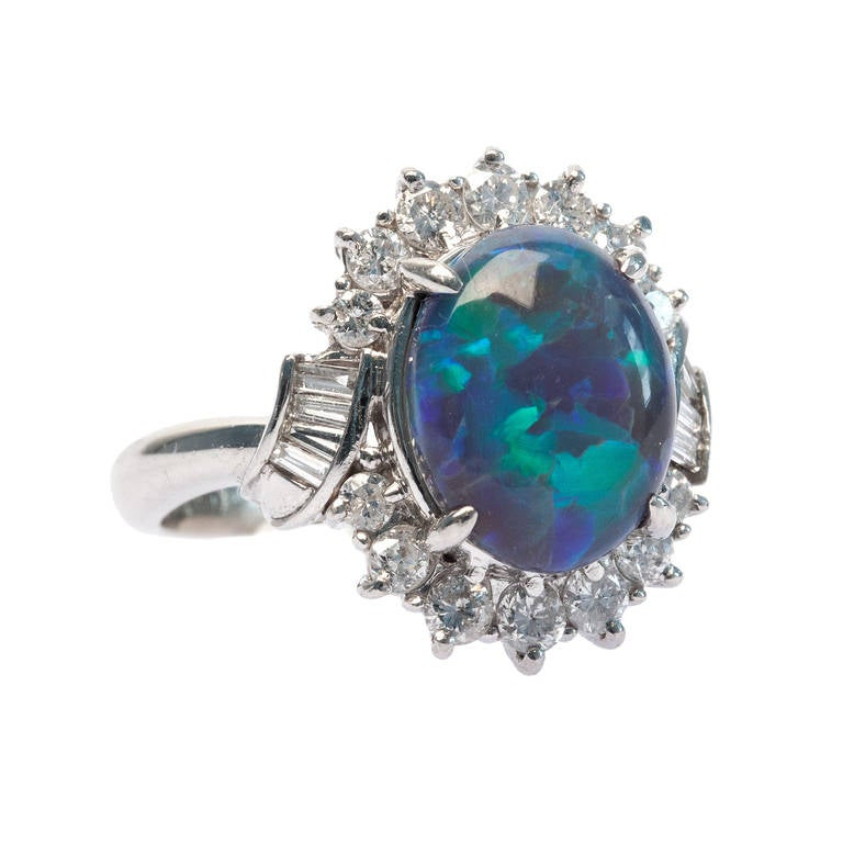 Contemporary Black Opal Diamond Platinum Ring at 1stdibs